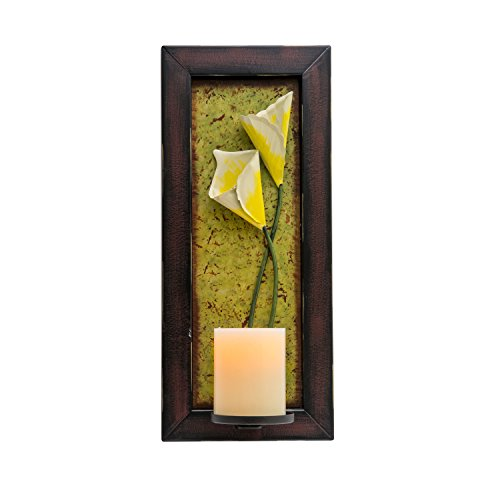 Candle Impressions Floral Wall Sconce with Real Wax Flameless Candle Included - Wall Sconce Metal Candle Holder