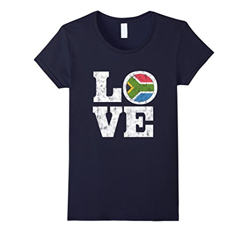 Womens South Africa Love T-Shirt Proud African Flag Distressed Tee Large - Africa Women South