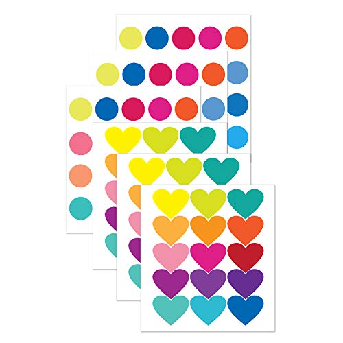 PARLAIM 1018 Rainbow of Colourful Heart and Dots Kids Wall Decals Wall Stickers Peel and Stick Removable Wall Stickers for Kids Nursery Bedroom Living Room(Rainbow,105 Decals) -