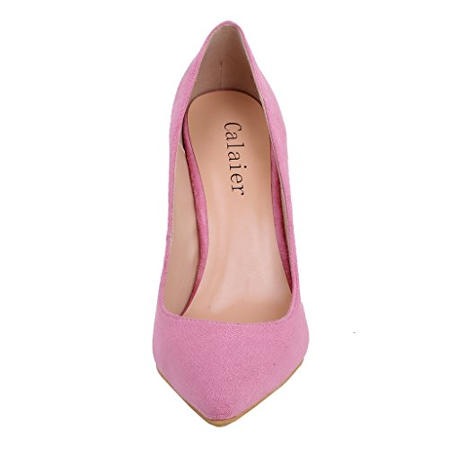 Calaier Womens Cawait Designer Party Abito Da Sposa Di Lusso Plus Size Comfortale Tacco Alto Donna Scarpe A Punta 10.5cm Stiletto Slip On Pumps Shoes Rosa