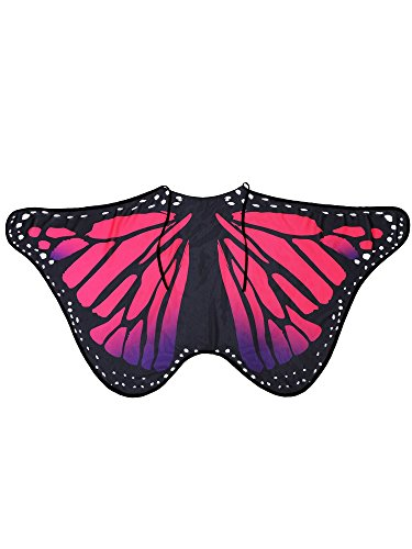 Blulu Butterfly Wings Shawl Poncho Nymph Cape Fairy Ladies Tippet for Halloween Party Wings Dancing Accessories (Red, 146 x 65 cm)
