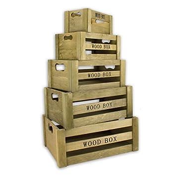 Caja De Almacenamiento Vintage Caja madera set de 5 Marrón Caja de Madera Caja de Madera