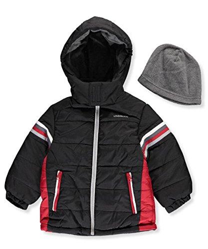 London Fog Little Boys' Insulated Jacket with Beanie - black, 5-6