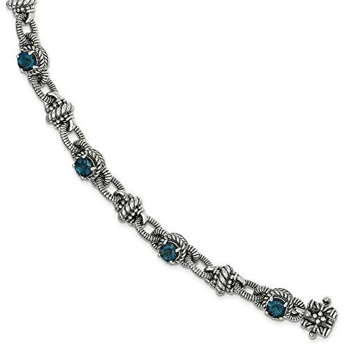 Argent fin 925/1000 avec Topaze Bleu Londres 7.75in. JewelryWeb Bracelet