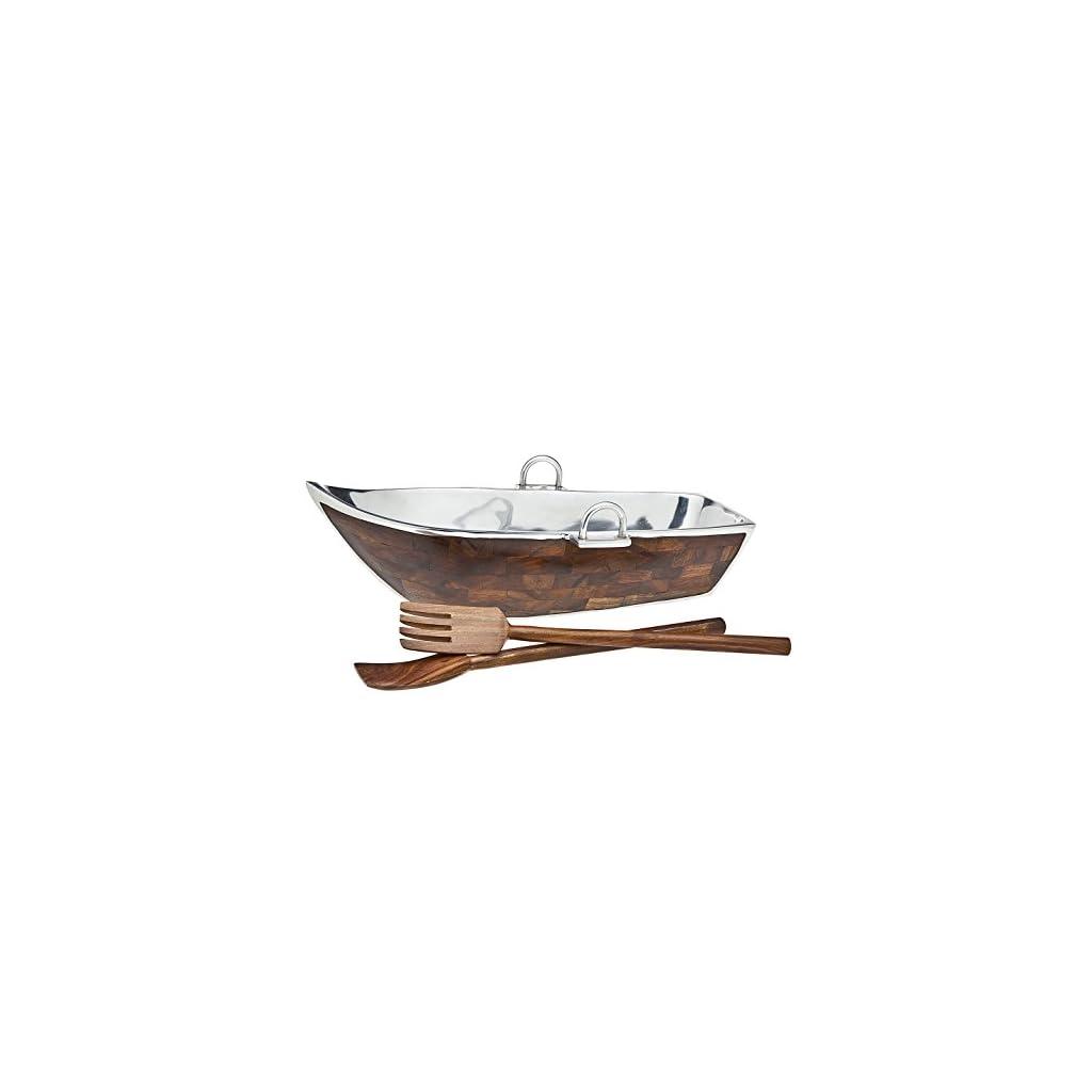 Godinger Wood Lined Boat Bowl with Salad Server, Silver