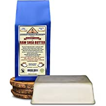Organic Unrefined Raw AFRICAN IVORY WHITE SHEA BUTTER 1 LB (16 oz) BLOCK Best Price Highest Quality Bulk Grade A for Anti Aging, Base for DIY Body Butter, Beauty, Skin Moisturizer & Soap Making(Ghana)