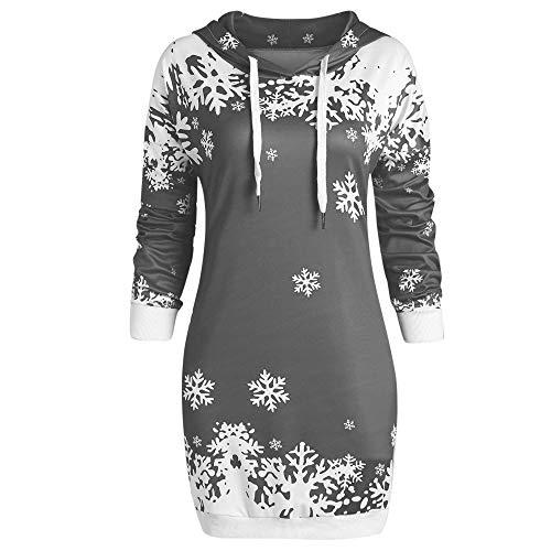 Snowflakes Silk Blouse - Sunhusing Women Fashion Santa Claus Snowflake Print Hoodie Blouse Ladies Hooded Sweatshirt Dress Tops