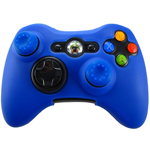 Pandaren Soft Silicone Skin for Xbox 360 Controller Set(Blue Skin X 1 + Thumb Grip X 2)