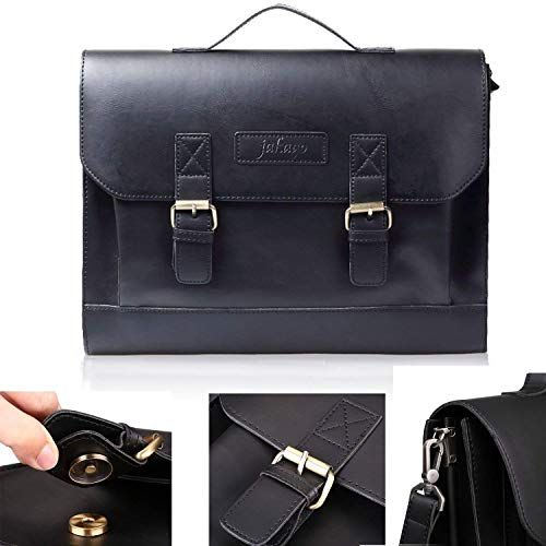 JAKAGO 14.6Inch Computer Case Synthetic Leather Messenger Bag Double Gusset Business Meeting Briefcase for Laptop, Tablet, and Office Accessories (Black)