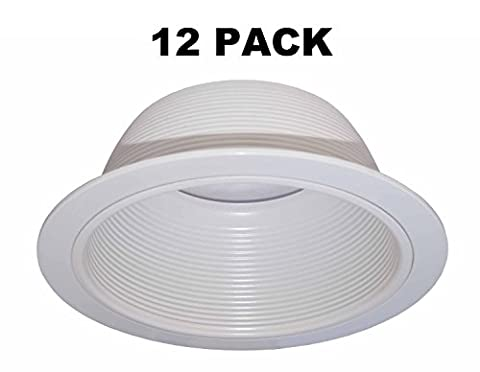 """6"""" Inch White Baffle Recessed Can Light Trim Replaces HALO 310 W JUNO 24W-WH - 12 PACK - Fluorescent Step Light"""