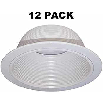 6u201d Inch White Baffle Recessed Can Light Trim Replaces HALO 310 W JUNO  24W WH   12 PACK