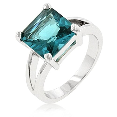 [Aqua Cubic Zirconia Gypsy Silver Colored Engagement Ring, Size 9] (Gypsy Costume Couple)