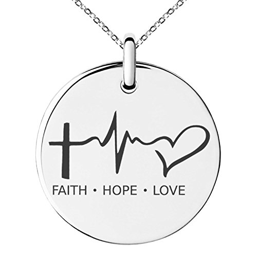 Stainless Steel Faith Hope Love Lifeline Engraved Small Medallion Circle Charm Pendant (Small Circle Charm)