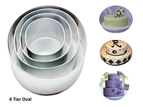 4 Tier Oval Multilayer Birthday Wedding Anniversary Cake Tins Pans 6 inch 8 inch 10  inch 12 inch