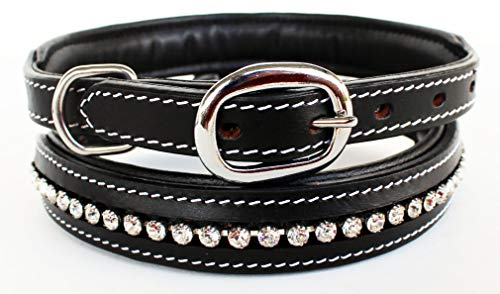PRORIDER Medium 17''- 21'' Rhinestone Dog Puppy Collar Crystal Cow Leather 6025