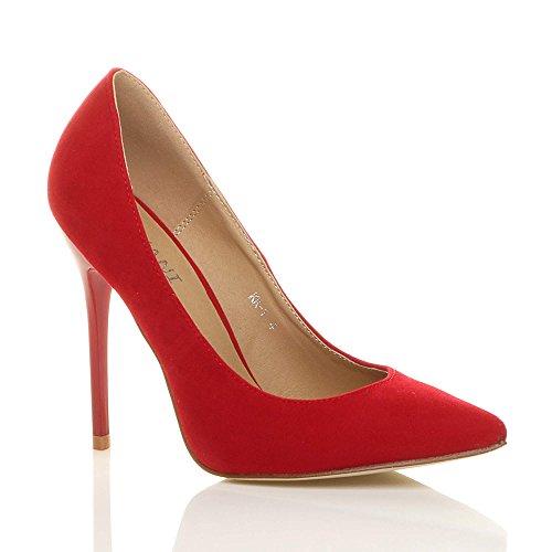 Suede red Contraste Rojo Ajvani Fiesta De Zapatos Trabajo Salón Afilada Mujeres Punta Alto Número Señoras Elegante Del Talón wxqTwaZ0