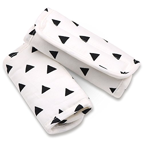 Covers Strap Car Seat (Black Triangle Car Seat and Stroller Strap Covers by The Peanut Shell)