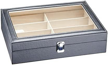 CO-Z Leather Box Eyeglasses Eyewear Organizer Display Storage Case – 8 Compartments (8 Compartments)