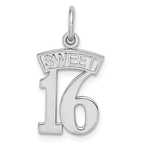 14k White Gold Sweet 16 Pendant Sixteenth Birthday Charm Fashion