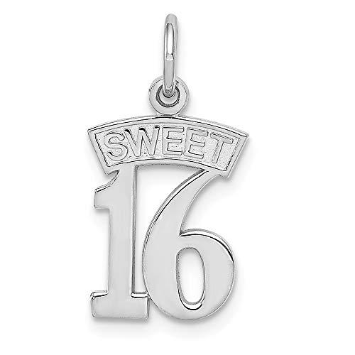 14k White Gold Sweet 16 Pendant Sixteenth Birthday Charm Fashion