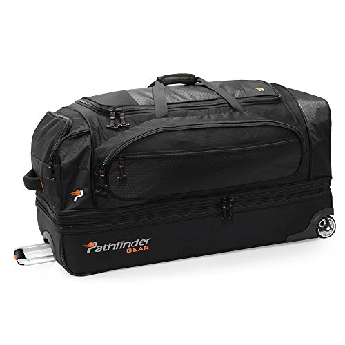 Pathfinder Gear 36 Inch Rolling Drop Bottom Duffel, Black, One Size
