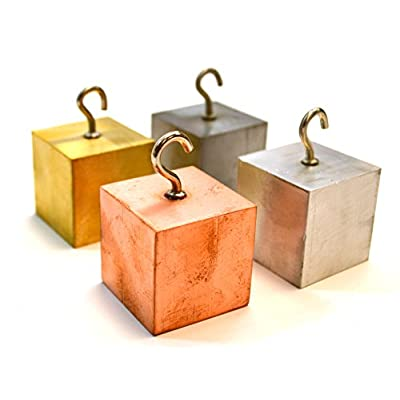 Density Cubes, Set of 4 Metals with Hooks, 1.26