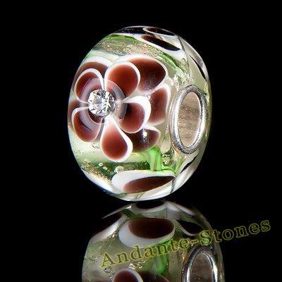 Andante-Stones perle de verre Argent 925 original et massif VIE MARINE beige, marron, marron avec zircon Élément bille pour perles European Beads + Étui en organza