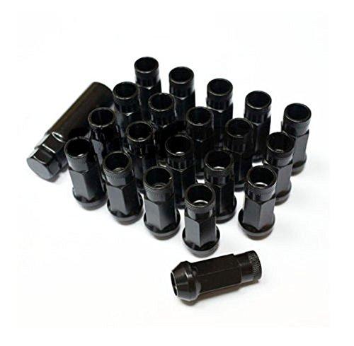 12x1.5 Wheel EXTENDED Steel Wheel Lug Nuts JDM Kit Open End 20pcs M12xP1.5 BLACK