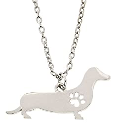 Best Dog Mom Ever Dog Breed Silhouette Dog Paw Heart Silver-Tone Necklace Fashion Jewelry