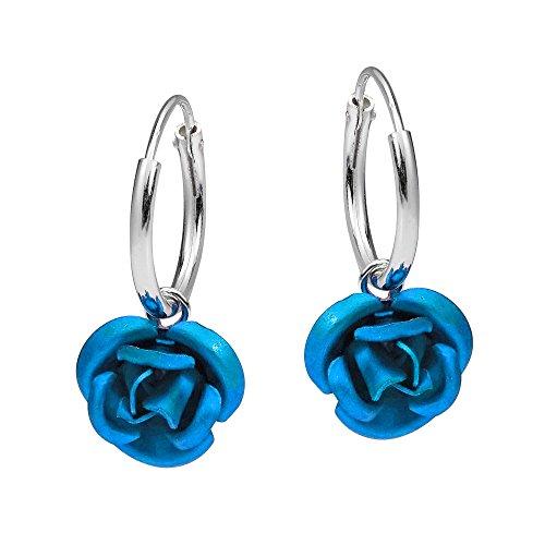 Mini Blue Blooming Rose Sterling Silver Hoop Earrings
