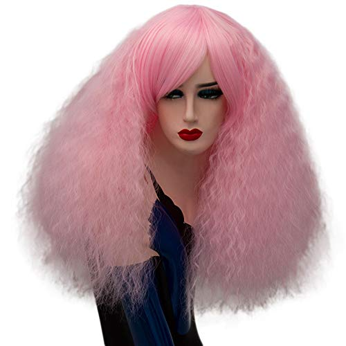 (ELIM Short Pink Cosplay Wigs Fluffy Curly Hair Halloween Costume Wigs for Women Z79Q)
