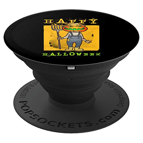 Funny Pumpkin Face Gardener Halloween Costume Gift Grip - PopSockets Grip and Stand for Phones and Tablets ()