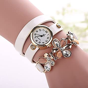 fenkoo Mujer Mode Reloj Quartz PU banda reloj de pulsera Negro/Blanco/Azul/