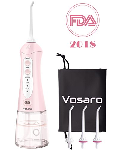 Portable Water Flosser Oral Irrigator – Vosaro Professional Dental Water Pick Teeth Cleaner With 3 Jet Tips, Cordless Flosser For Braces & Travel- Anti Leakage Design, Pink