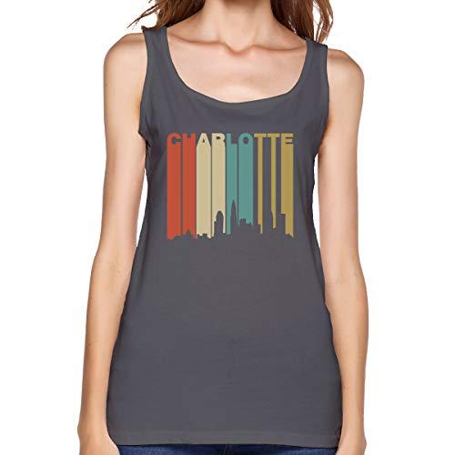 1970's Style Charlotte North Carolina Skyline Gym Vest T-Shirt Deep Heather Women's Tank Top T Shirt ()