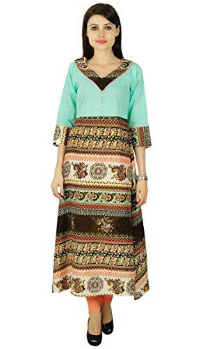 Bollywood floral Kurta Mujeres étnico Kurti Ocasional Rayón Top túnica del vestido Aqua azul y Brown