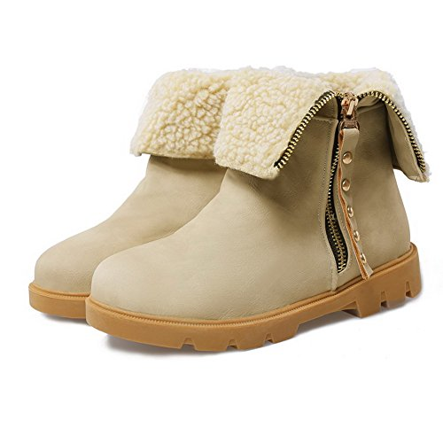 Women's Boots Soft Round WeenFashion Low Heels Closed Low Material Zipper apricot Toe Top HqqgAwR