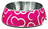 Dogit Style 2-in-1 Dog Bowl, Pink Bones, Small, My Pet Supplies