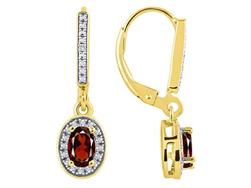 Diamond & Garnet Earrings Set in Yellow Gold Plated Silver Stunning Halo Designer