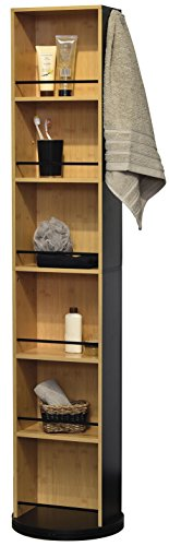 Evideco Swivel Storage Cabinet Organizer Freestanding Linen Tower Mirror Black and Bamboo by Tendance