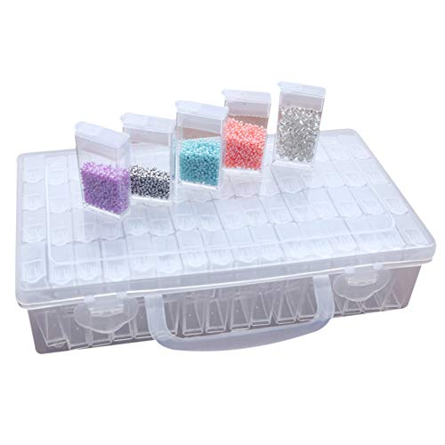 64 Compartments Plastic Jars Diamond Embroidery Sorting Box in Sturdy Storage Box Tool Container Jewellery Organizer Diamond Painting Box for Nails Rhinestones Beads DIY Crafts