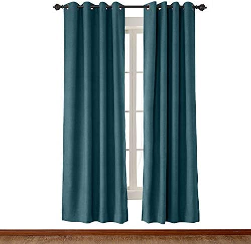 "120"" W x 102"" L Blue Faux Linen Textured Curtain Antique Bronze Grommet Drapes 1 Panels ChadMade"