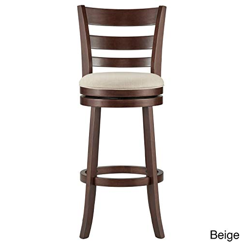 Inspire Q Verona Linen Ladder-Back Swivel 29-inch High Back Bar Stool by Classic Beige Cherry Finish