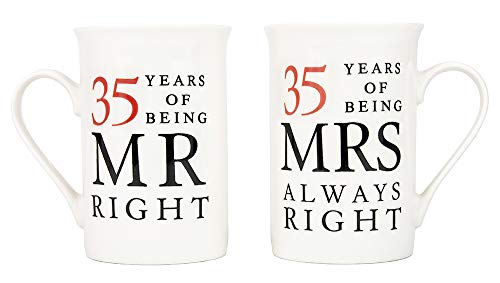 Ivory 35th Anniversary Mr Right & Mrs Always Right Ceramic Mugs Gift Set Thoughtful and Unique Gift Idea Dishwasher and Microwave Safe by Happy Homewares]()