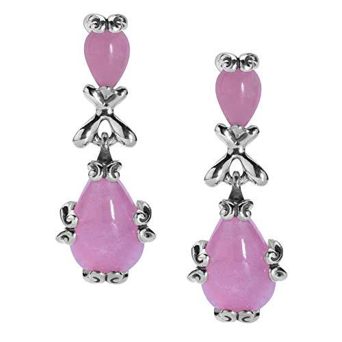Carolyn Pollack Sterling Silver Pink Jade Gemstone Dangle Earrings