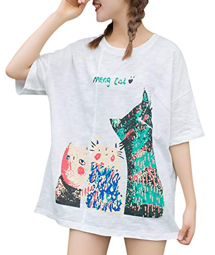 YESNO Women Casual Loose Tee T-Shirts 'Cute Cats' Print w/Cuts on Sleeves & Shoulders Short Sleeve - Knit Top Cat