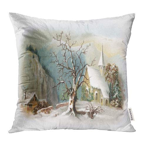 Emvency Decorative Throw Pillow Covers Cases Christmas Snowy Chapel Scene Early 1900S Vintage Winter Ives Currier Antique 18x18 Inch Case Cover Cushion Two Sided