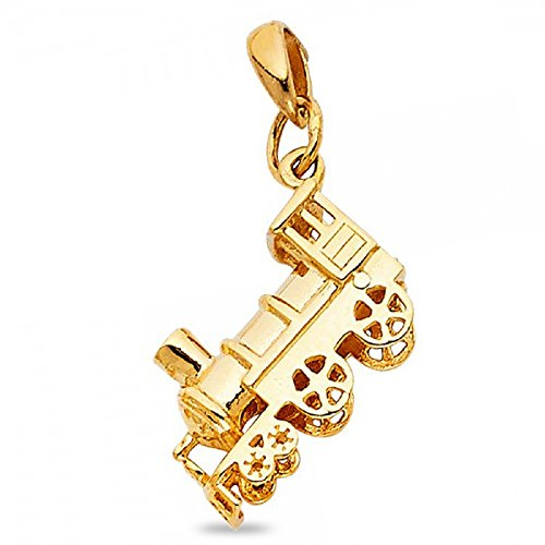 (14k Yellow Gold Train Pendant Locomotive Engine Charm Genuine Diamond Cut Polished Solid 15 x 10 mm)