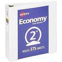 """Avery 2 """"Economy View 3 Ring Binder, anillo redondo, papel de 8,5"""" x 11 """", 1 carpeta blanca (5731)"""