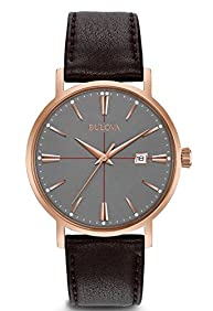 Bulova Men's Classic Watch with Brown Leather Strap
